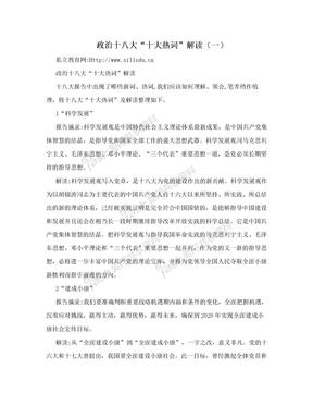 """政治十八大""""十大热词""""解读(一)"""