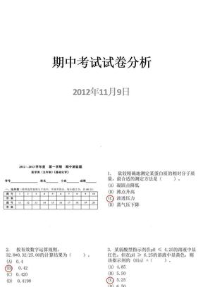 武汉大学基础化学期中考试试卷分析ppt课件