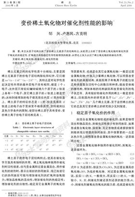变价稀土氧化物对催化剂性能的影响