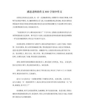 感恩老师的作文800字初中作文