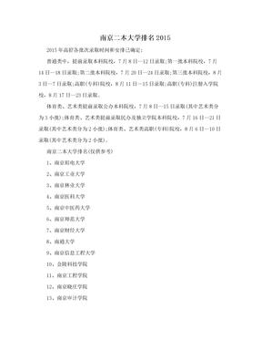 南京二本大学排名2015