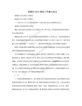 蒙城县2016政府工作报告范文