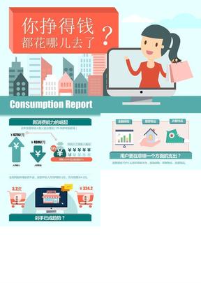 你挣的钱都花哪儿去了——消费数据报告卡通ppt模板