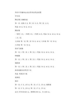 华圩中学趣味运动会奖项及奖品设置