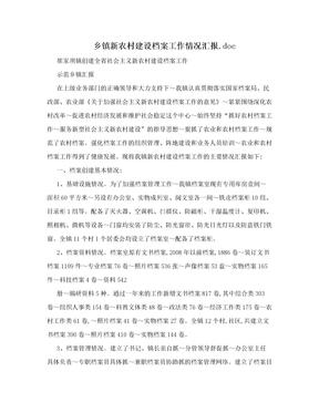 乡镇新农村建设档案工作情况汇报.doc