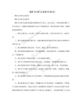 煤矿安全矿长承诺书(范文)