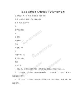 孟庄心文化传播机构金牌家长学院学员档案表