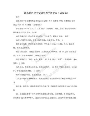 浦东新区中小学课堂教学评价表(试行稿)