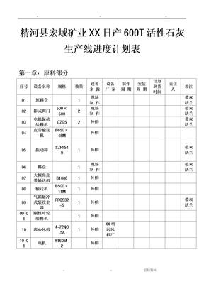精河县宏域矿业有限公司日产600T活性石灰生产线进度计划表