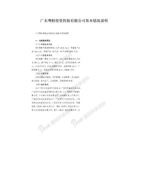 广东粤财投资控股有限公司基本情况说明