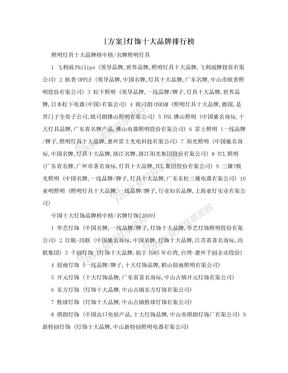 [方案]灯饰十大品牌排行榜