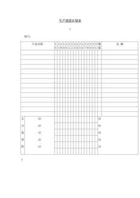 生产进度计划表