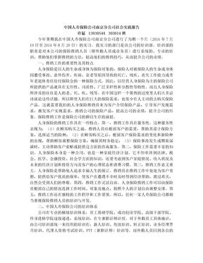 中国人寿保险公司社会实习报告