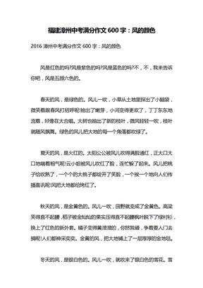 福建漳州中考满分作文600字:风的颜色