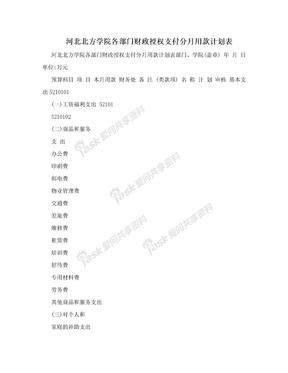 河北北方学院各部门财政授权支付分月用款计划表