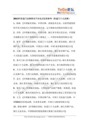 2012年防盗门十大品牌排名