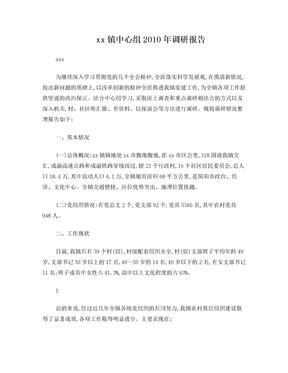2010年中心组学习调研报告(党建工作调研报告)