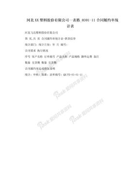 河北XX塑料股份有限公司—表格_0301-11合同履约率统计表