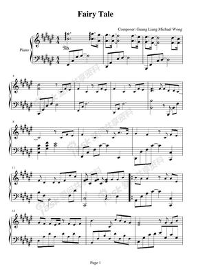 Theme-Fairy Tale 钢琴伴奏谱 声乐五线谱 欧美经典歌曲钢琴伴唱