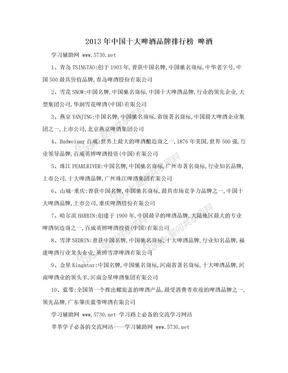 2013年中国十大啤酒品牌排行榜 啤酒