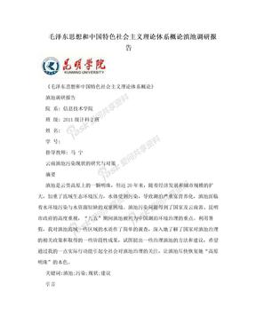 毛泽东思想和中国特色社会主义理论体系概论滇池调研报告