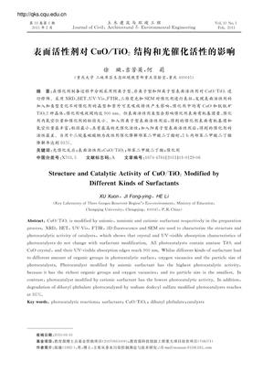 表面活性剂对CuO_TiO2结构和光催化活性的影响