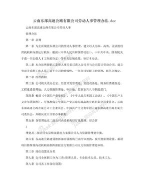 云南东部高速公路有限公司劳动人事管理办法.doc