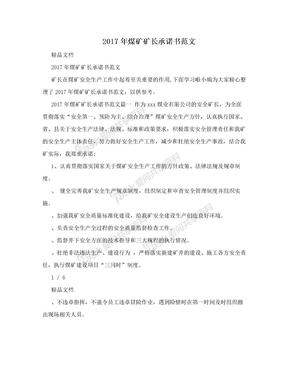 2017年煤矿矿长承诺书范文