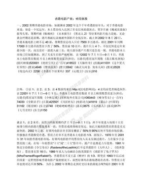 香港电影产业:亟待拯救