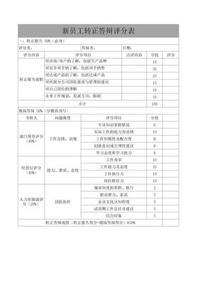 2021新员工转正答辩评分表(完整版)