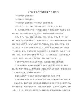 《中国文化符号调查报告》(范本)