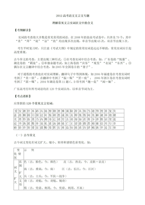 2012高考语文文言文专题