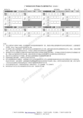 2012广西高考志愿填报草表(提前批)