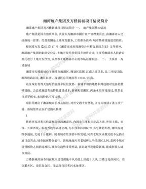 湘潭地产集团及万楼新城项目情况简介