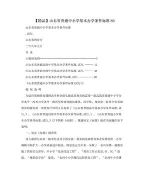 【精品】山东省普通中小学基本办学条件标准80