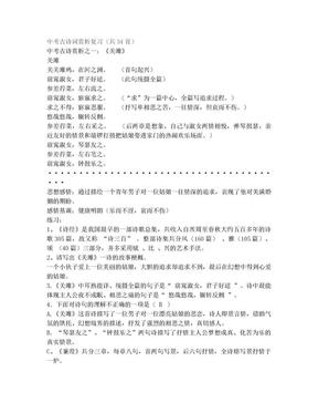 中考古诗词赏析复习