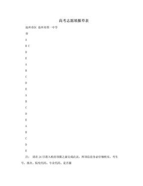 高考志愿填报草表