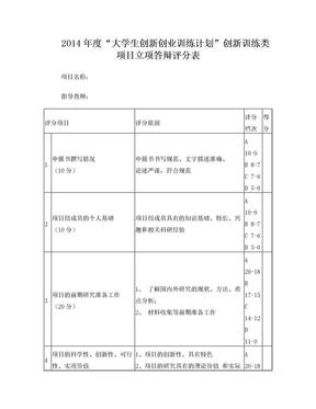 立项答辩评分表