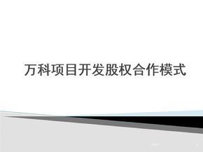 万科项目开发股权合作模式ppt课件
