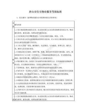 唐山市住宅物业服务等级标准
