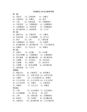 传统杨氏108式太极拳拳谱