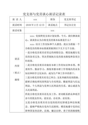 党支部与党员谈心谈话记录表(参考样本)