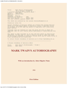 马克吐温自传 -英文原版