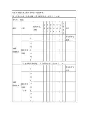 河北省普通高考志愿填报草表