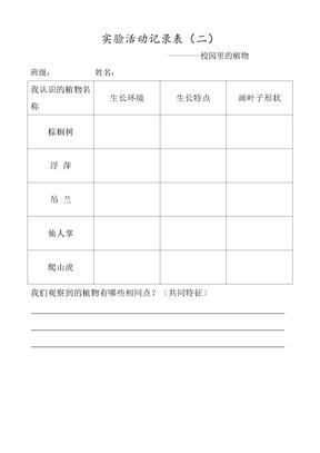 实验活动记录表