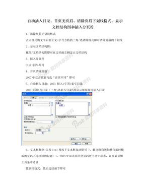 自动插入目录、首页无页眉、清除页眉下划线格式、显示文档结构图和插入分页符