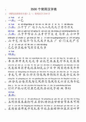 C-3500个常用汉字表(带拼音)