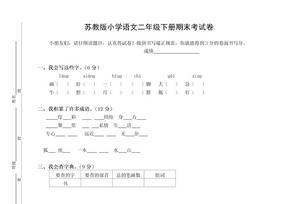 苏教版小学二年级下册语文期末考试卷.doc