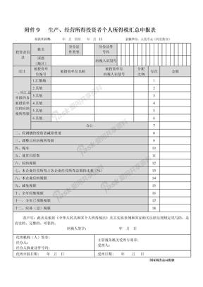 附件九:生产、经营所得投资者个人所得税汇总申报表