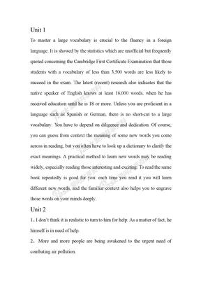 大学英语精读5课后翻译
